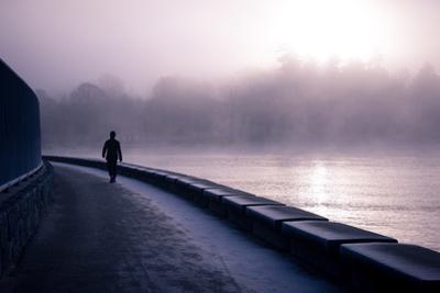 Winter Scene Male Figure Walking Along Pathway Beside Lake