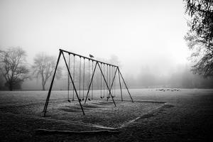 Winter Scene with Childrens Swings by Sharon Wish