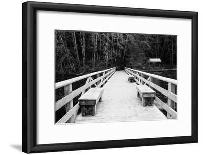 Winter Scene with Wooden Foot Bridge