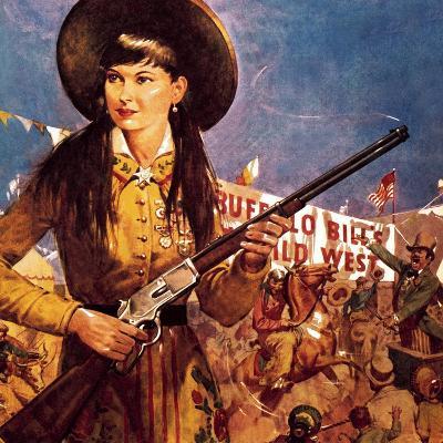 Sharpshooter Annie -- Annie Oakley and Her Gun-McConnell-Giclee Print
