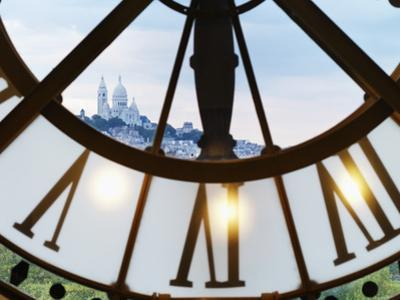 France, Paris, Musee D'Orsay, Giant Ornamental Clock and Basilique Du Sacre Coeur by Shaun Egan