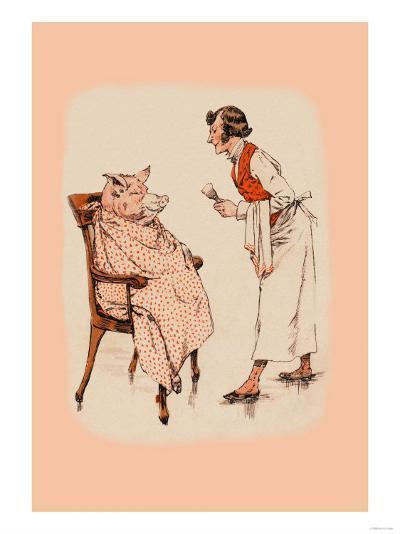 Shaving the Pig--Art Print