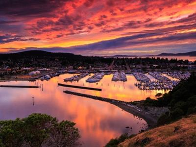 Red Sunset over Harbor by Shawn/Corinne Severn