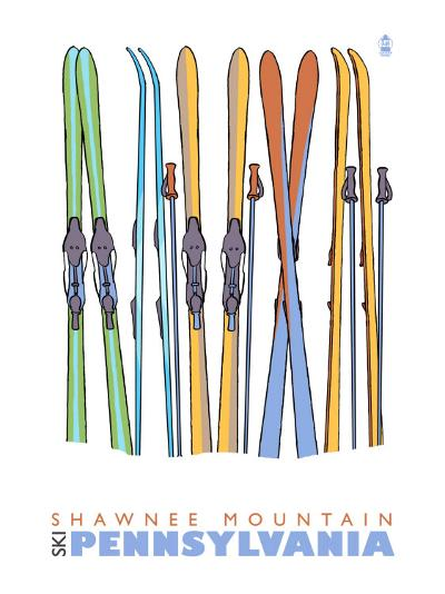 Shawnee Mountain, Pennsylvania, Skis in the Snow-Lantern Press-Art Print