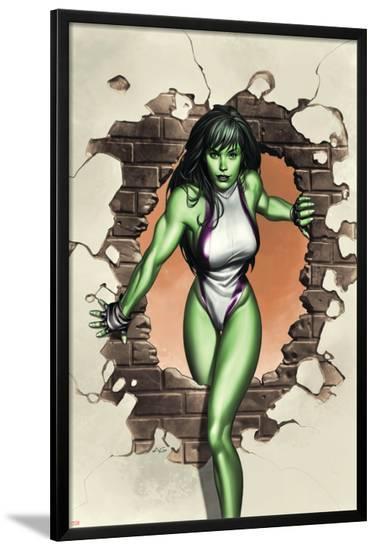 She-Hulk No.1 Cover: She-Hulk-Adi Granov-Lamina Framed Poster