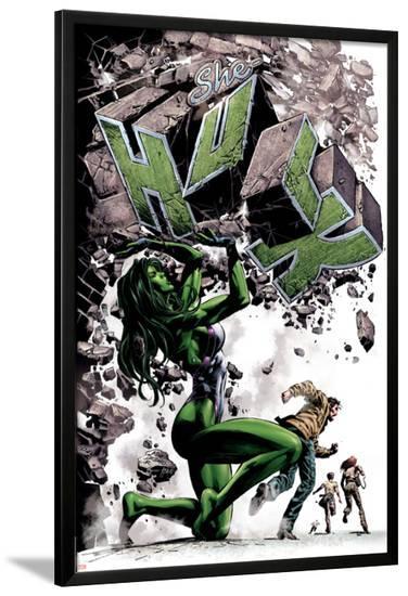 She-Hulk No.24 Cover: She-Hulk-Mike Deodato-Lamina Framed Poster
