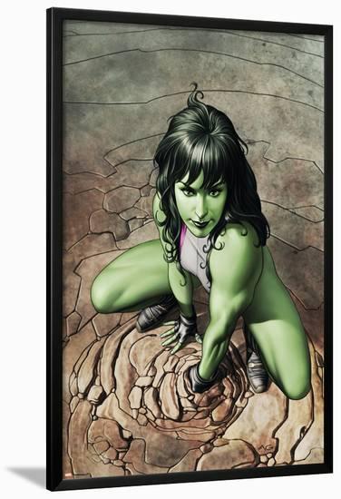 She-Hulk No.3 Cover: She-Hulk Crouching-Adi Granov-Lamina Framed Poster