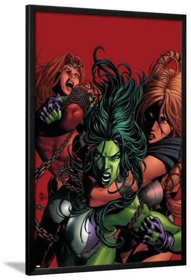 She-Hulk No.36 Cover: She-Hulk-Mike Deodato-Lamina Framed Poster