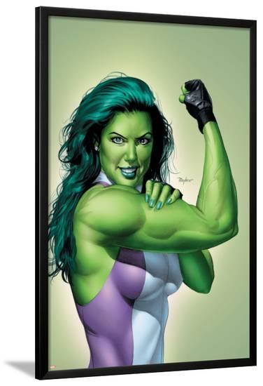 She-Hulk No.9 Cover: She-Hulk-Mike Mayhew-Lamina Framed Poster