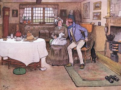 She Looked Up at Toms Face and Smiled Through Her Tears-Cecil Aldin-Giclee Print