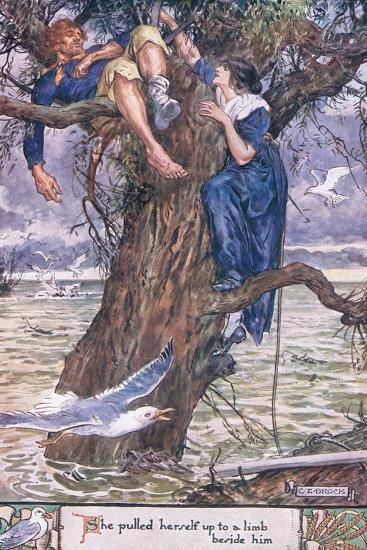 She Pulled Herself Up to a Limb Beside Him.-Charles Edmund Brock-Giclee Print
