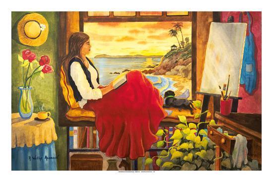 She's an Artist - Woman Watching Ocean Sunset with Dog-Robin Wethe Altman-Premium Giclee Print