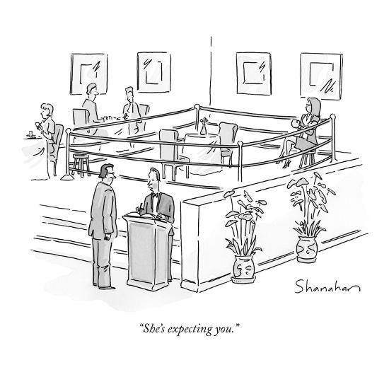 """She's expecting you."" - New Yorker Cartoon-Danny Shanahan-Premium Giclee Print"