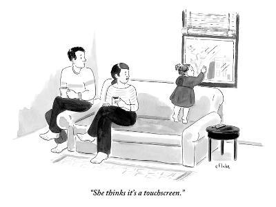 """She thinks it's a touchscreen."" - New Yorker Cartoon-Emily Flake-Premium Giclee Print"