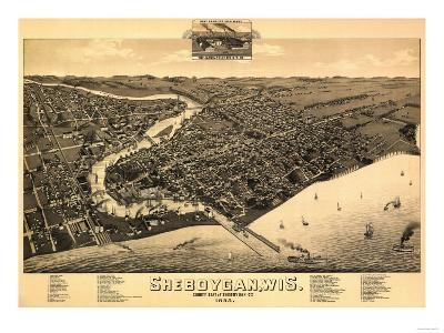 Sheboygan, Wisconsin - Panoramic Map-Lantern Press-Art Print
