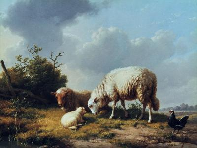 Sheep and Poultry in a Landscape, 19th Century-Eugène Verboeckhoven-Giclee Print