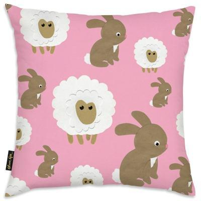 Sheep Bunny Pink Throw Pillow
