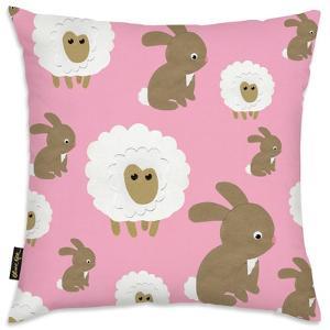 Sheep Bunny Pink Throw Pillow
