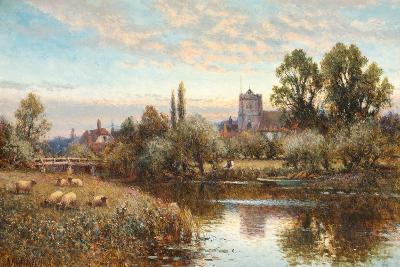 Sheep Grazing before Wrotham Church, Twilight-Alfred Augustus Glendening-Giclee Print