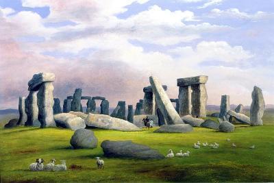 Sheep Grazing, Stonehenge, Wiltshire-Richard Tongue-Giclee Print