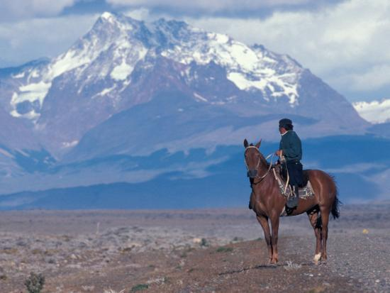 Sheep Herd and Gaucho, Patagonia, Argentina-Art Wolfe-Photographic Print