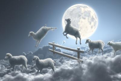 Sheep Jumping over Fence in a Cloudy Moon Scene-Dieter Spannknebel-Photographic Print