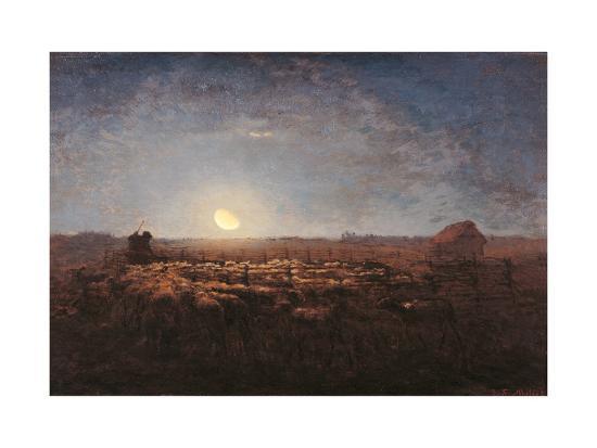 Sheep Meadow, Moonlight-Jean-Fran?ois Millet-Art Print