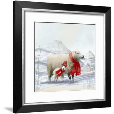 Sheep Red Scarf-Clare Davis London-Framed Giclee Print