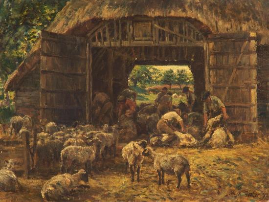 Sheep Shearing, 1892-William Mark Fisher-Giclee Print
