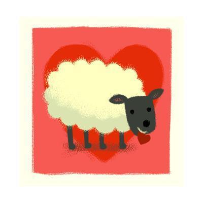 Sheep with Heart--Art Print