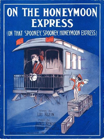 """Sheet Music Cover: """"On the Honeymoon Express"""" Music by J. Kendis and F. Stilwell, Words by L. Klein--Art Print"""