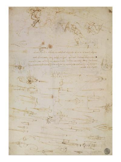 Sheet of Studies of Foot Soldiers and Horsemen in Combat, and Halbards, 1485-1488-Leonardo da Vinci-Giclee Print