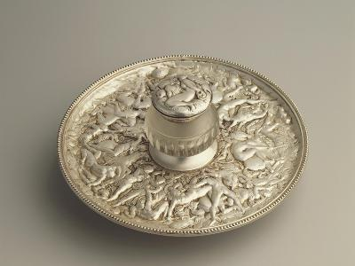 Sheffield Plate Inkpot with Decoration Depicting the Rape of the Sabines, 1900s--Giclee Print