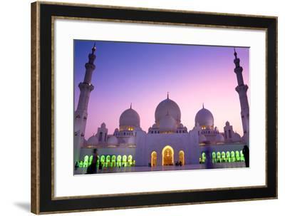 Sheikh Zayed Grand Mosque in Abu Dhabi, United Arab Emirates-Mohamed Kasim Navfal-Framed Photographic Print