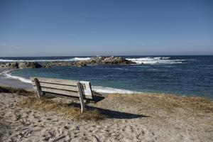 Bench on Beach with Waves, Monterey Peninsula, California Coast by Sheila Haddad