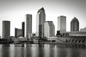 Black and white image of the Tampa skyline by Sheila Haddad