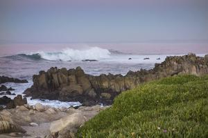 Crashing Waves at Sunset Along Pacific Ocean, Monterey, Peninsula, CA by Sheila Haddad