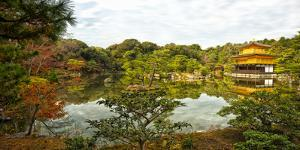 Panorama of Temple of the Golden Pavilion, Kyoto, Japan by Sheila Haddad