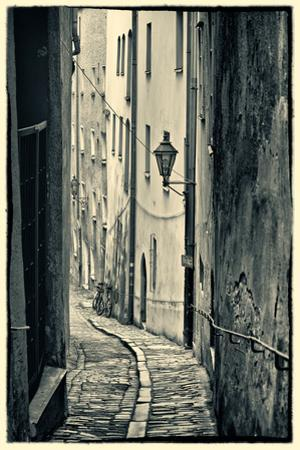 Passau, Germany, Narrow Alleyway of Historic Village, Vintage Look by Sheila Haddad