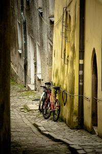 Two Bicycles on Cobblestone Street, Historic Passau, Germany by Sheila Haddad