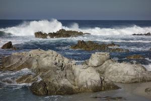 Waves, Blue Water and Rocks Along Monterey Peninsula, California Coast by Sheila Haddad