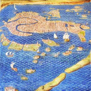 16th Century Map of Venice by Sheila Terry