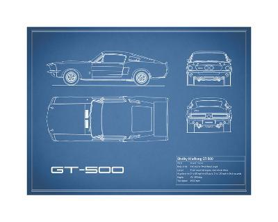 Shelby Mustang GT500-Blue-Mark Rogan-Giclee Print