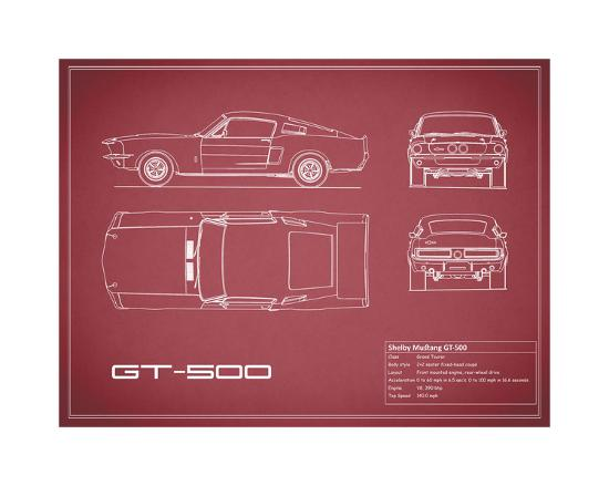 Shelby Mustang GT500-Maroon-Mark Rogan-Giclee Print