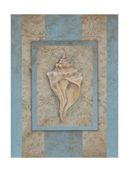 Shell & Damask Stripe II-Rita Broughton-Art Print