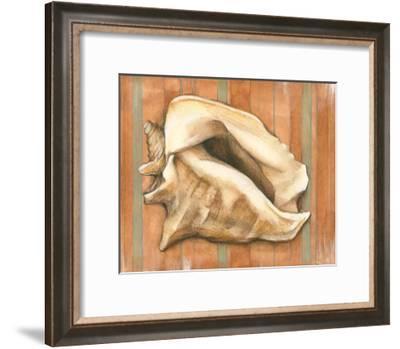 Shell on Stripes I-Laura Nathan-Framed Art Print