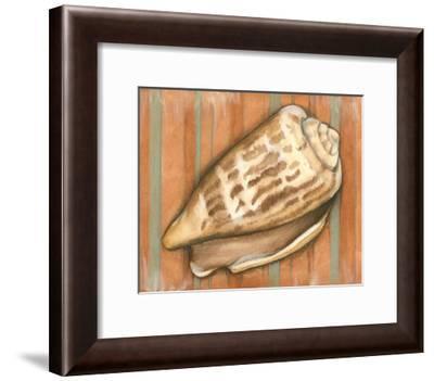 Shell on Stripes III-Laura Nathan-Framed Art Print