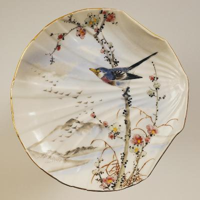 Shell Shaped Plate Decorated with Birds and Landscape, Porcelain--Giclee Print