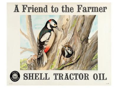 Shell Tractor Oil - Farmer--Framed Art Print