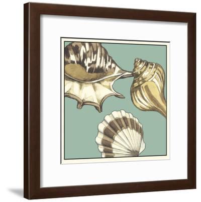 Shell Trio on Blue III-Megan Meagher-Framed Art Print